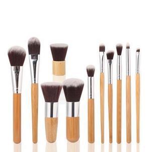 11支竹柄化妆刷 套装 竹子杆EDM同款美妆工具配麻布袋 外贸热卖