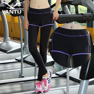 2018新款瑜伽裤户外运动健身裤舞蹈假两件瑜伽紧身裤女一件代发