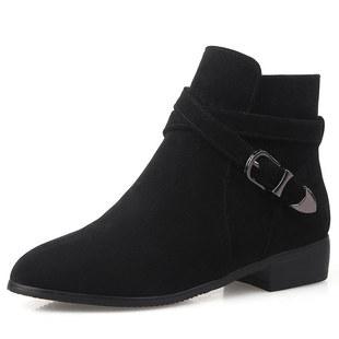 短靴女2017 皮带皮尖头大码短靴6-Q4