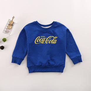 2017秋季新款儿童卫衣 韩版小清新字母纯色男女童运动上衣头套衫