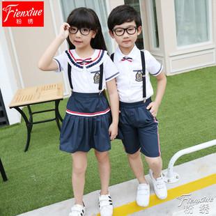 порошок вышивка летом школьную форму одежды учащихся начальных и средних классов в пункте 61 с коротким рукавом подтяжки костюм детей костюмы на заказ