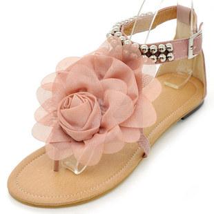 波西米亚凉鞋 立体花朵度假鞋 大码凉鞋40-43 夹趾平底凉鞋女 516