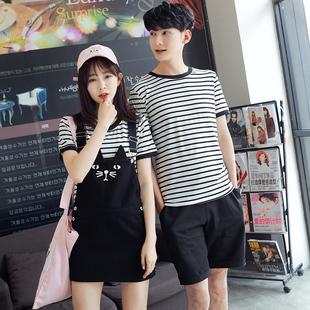 722#【实拍】情侣装新款女背带裙短袖t恤条纹两件套