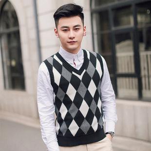 男式纯棉保暖V领菱形坎肩 合体百搭加厚针织毛衣男式针织套头背心