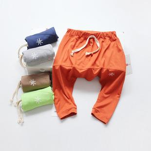 儿童哈伦裤 2017夏季纯棉净色中小童七分裤 1+1kids韩版吊裆裤