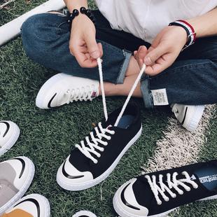 2017新款夏透气韩版男鞋帆布鞋百搭潮鞋开口笑做旧学生板鞋102P40