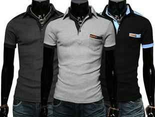 T02 韩版新品时尚撞色设计修身百搭短袖POLO衫 潮男T恤P30