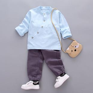 2017小童棉麻汉服款休闲套装扣子套装四色扣子套装斜排穿搭1-4岁