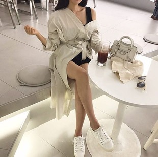 现货高端 原版#2255# 韩系chic V领排扣系腰带开叉纯色衬衫连衣裙