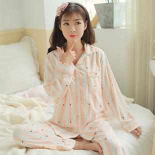 春季月子服产后纯棉长袖孕妇睡衣开衫产妇哺乳衣居家服夏套装N963