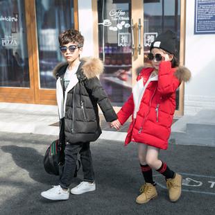 儿童羽绒服女童大毛领加厚2017冬季新款中大童男童中长款韩版外套