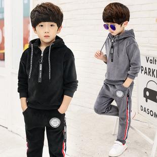 韩版童装秋冬儿童套装2017冬季男童加厚运动服双面绒卫衣一件代发