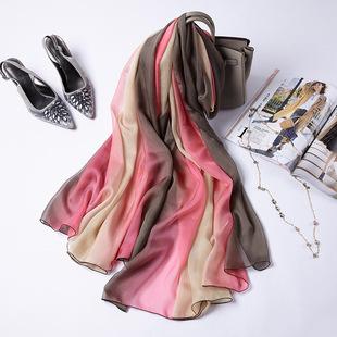 桑蚕丝丝巾粉色咖色渐变色女士真丝围巾春秋冬季披肩韩国长款纱巾