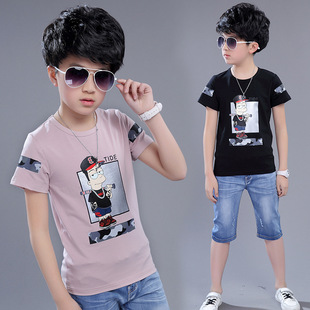 2017夏季新款男童短袖t恤纯棉奥戴尔中大儿童圆领印花半袖上衣潮