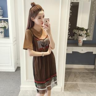 【实拍】2017春夏新款印花中长款T桖网纱裙拼接套装裙两件套8180#