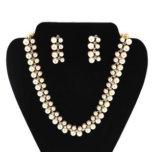 卓日外贸热卖新娘饰品两排珍珠镶钻项链耳环两件套套装速卖通热销