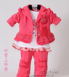 速卖通 爆款童装秋季款 外贸童套装女童卫衣小西装三件套 童套装