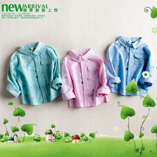 春夏新款中小男女童宝宝韩版卡通糖果色纯棉印花打底衫上衣衬衫