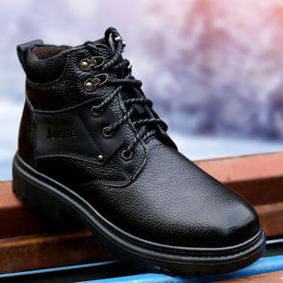 2018春季新款真皮圆头系带休闲鞋男加绒恒温保暖男士棉鞋靴子代发