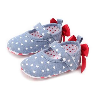 学步鞋2018春款公主鞋婴儿鞋纯棉牛仔面料软底鞋子印花红色爱心