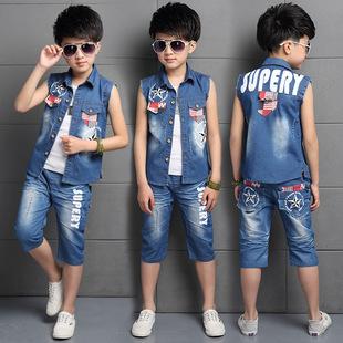 童装男童夏装套装2017新款韩版夏季儿童男孩牛仔马甲中大童两件套
