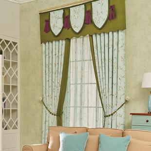 亚麻定制客厅卧室书房 遮光窗帘田园亚麻印花成品窗帘零售