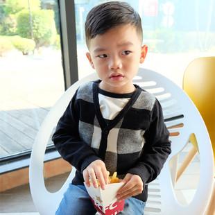 2017秋款韩版儿童毛衣男女宝宝黑白格子拼色针织外套小童毛衣外套