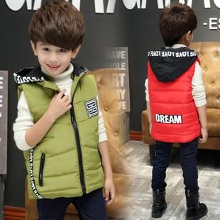 儿童马甲2017冬季新款韩版童装时尚字母织带连帽加厚男童棉袄马甲