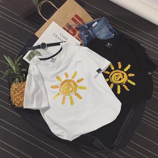*95 хлопок 5 спандекс европейских, американских и японских простой большой код печать футболка A260-1-DT8068-P30 любителей солнца