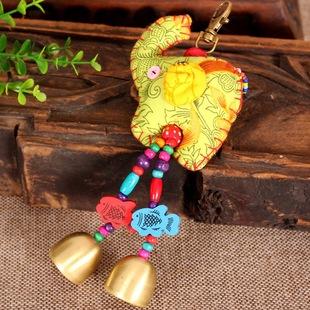 云南民族风手工钥匙扣 创意小象钥匙包挂 民族饰品批发