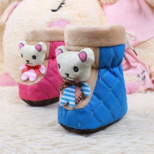 2017冬款婴儿高帮棉鞋加厚加绒羊纹皮宝宝鞋子高帮雪地靴一件代发