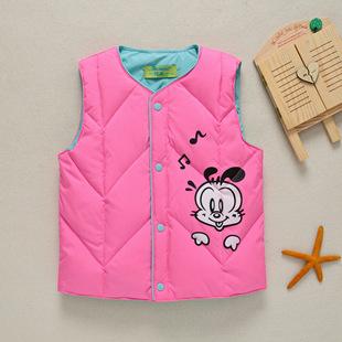 外套童装羽绒服儿童羽绒马甲韩版男童女童卡通背心宝宝保暖马甲