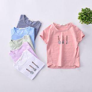 厂家批发 17年夏季新款 儿童段文竹节棉半袖 男女童刀叉印花t恤衫