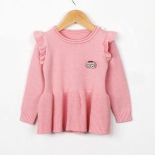 韩版2017秋款童装儿童毛衣 女童小童款裙式毛衣木耳边肩袖