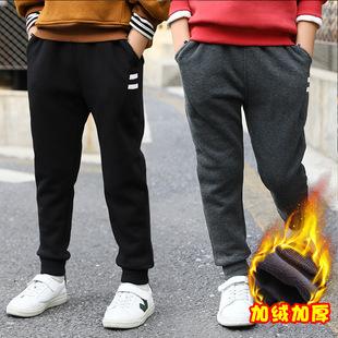 男童加绒长裤冬季口袋白织带中大童休闲童裤儿童2017年新款童装