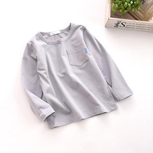 18春新款 儿童纯色打底衫 圆领潮范长袖t恤