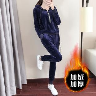 2017秋冬装新款大码韩版金丝绒运动套装女休闲加厚两件套