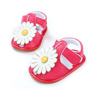 婴儿凉鞋软底学步鞋防滑鞋子宝宝太阳花凉鞋 纯手工缝制的花朵