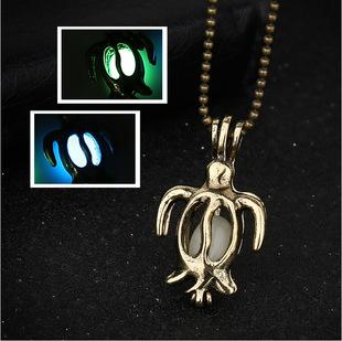 外贸出口饰品批发 欧美创意小海龟夜光可打开项链 复古短项饰X856