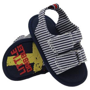 外贸原单纯棉蓝白条纹软底婴儿凉鞋厂家批经宝宝学步凉鞋 dn252
