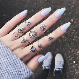 2017wish新款饰品 个性夸张紫宝石镂空手板十字树叶宝石9件套戒指