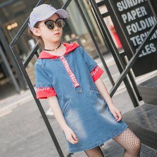 女童五分袖t恤2017夏季新款中大儿童装小女孩韩版中长款连帽上衣