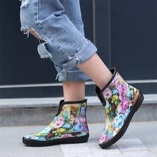 时尚U形雨鞋女士成人天然橡胶水鞋短筒印花雨靴防滑水靴秋冬雨靴