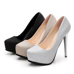 欧美2017秋季新款超高跟细跟防水台女鞋 浅口单鞋内增高鞋 A839-2