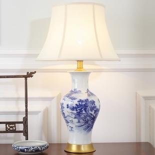 新中式台灯客厅卧室床头灯复古典书房酒店会所全铜青花瓷陶瓷台灯