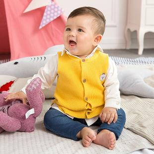 儿童毛衣背心马甲针织毛衣童装2017秋冬婴幼儿单排扣无袖毛衣外套