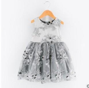 2017年夏季新款韩版纯色女童背心裙蕾丝裙无袖公主裙x1349