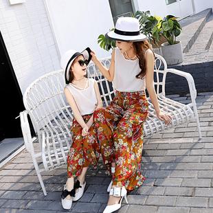 母女装圆领无袖套头雪纺衫+印花阔腿裤气质显瘦两件套2017年夏季