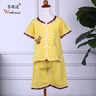 2017年 夏季  民族风儿童唐装 绣花龙的传人 短袖中裤男童套装
