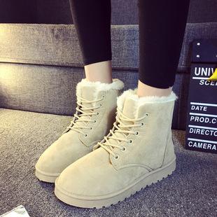 2015冬季新款韩版雪地靴加绒保暖系带低帮时尚学生棉靴短筒马丁靴